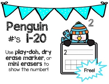 Winter Penguin Ten and Double Ten Frame Numbers