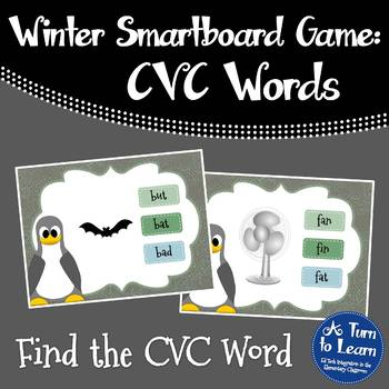 Winter/Penguin Themed Find the CVC Word Game for Smartboard or Promethean Board!