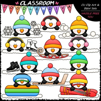 Winter Penguin Page Toppers Clip Art - Toppers Clip Art