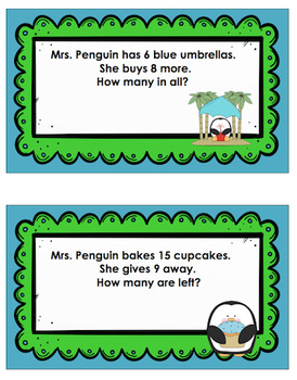 Winter Penguins Word Problems Math Game Task cards grade 1 Early Finishers