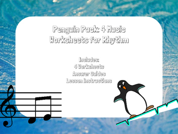 Winter Penguin and Polar Bear Music Worksheets: Rhythm