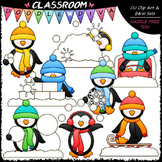 Winter Penguins Clip Art & B&W Set
