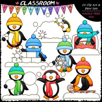 Winter Penguins Clip Art & B&W Set