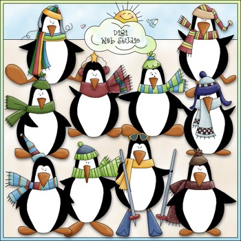 Winter Penguins Clip Art - Winter Clip Art - CU Clip Art & B&W