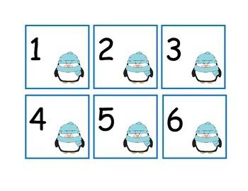 Winter Penguins Calendar Numbers