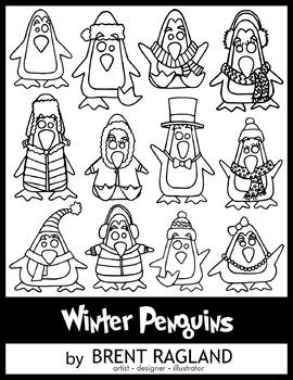 Winter Penguins Clip Art (Black & White) By Brent Ragland