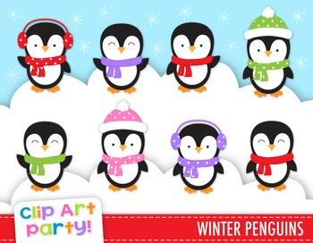 Winter Penguins Clip Art, Christmas Clip Art, Penguin Clipart, 8 PNG Images