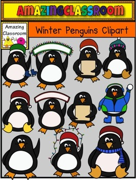 Winter Penguins Clip Art Set - Commercial Use Okay!