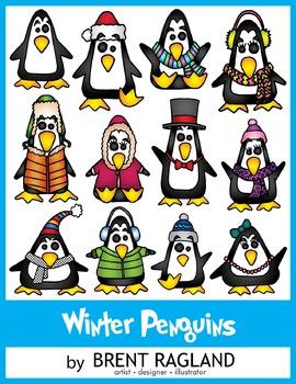 Winter Penguins Clip art by Brent Ragland