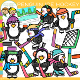 Winter Penguins Playing Ice Hockey Clip Art