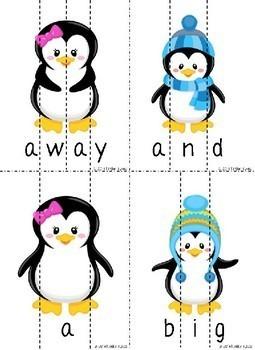 Winter Penguins Sight Word Puzzles  (Pre-Primer )