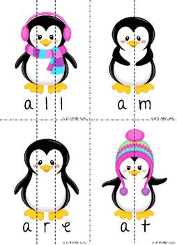 Winter Penguins Sight Word Puzzles (Primer)