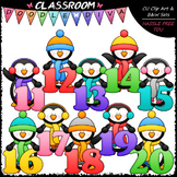 Winter Penguins With Math Numbers (11-20) - Clip Art & B&W Set