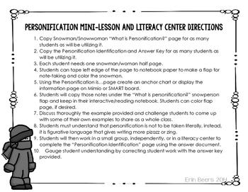 Winter Personification Mini-Lesson and Literacy Center Grades 4-6 L.5