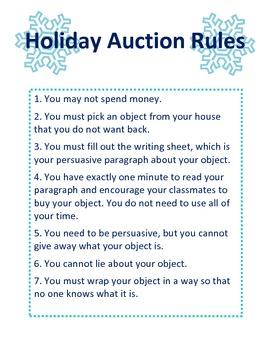 Winter Persuasive Writing Auction Activity