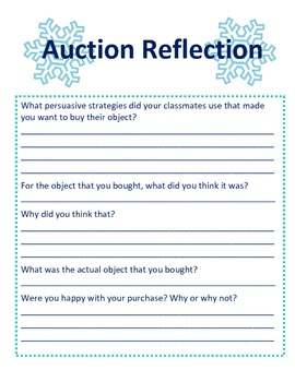 Winter Persuasive Writing Auction Activity