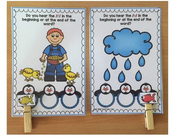 Winter Phonemic Awareness Literacy Center- Penguins (Initial & ending sounds)