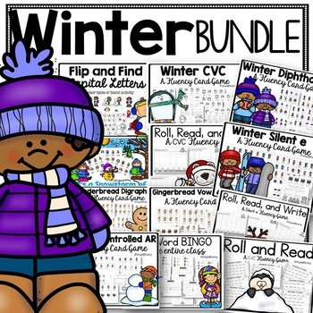 Winter Phonics Games and Activities for Blends, Digraphs, R-Controlled Vowels