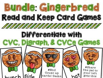 Winter Phonics Reading Card Game Bundle - CVC, CVCe, Digraph
