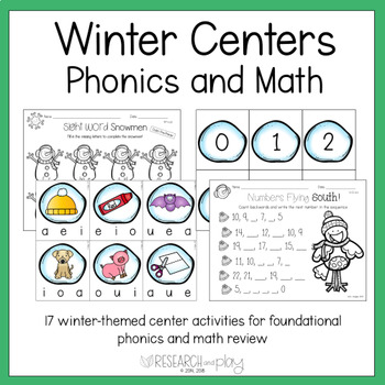 Winter Phonics and Math Center Activitie