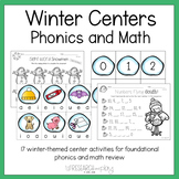 Winter Phonics and Math Center Activities