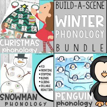Winter Phonology Bundle: Penguin, Snowman, and Christmas Tree Scenes