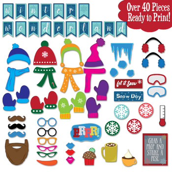 Winter Photo Booth Props and Decorations - Christmas Printable Props