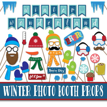 picture relating to Printable Props known as Winter season Photograph Booth Props and Decorations - Xmas Printable Props