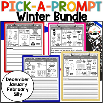Winter Writing Prompt BUNDLE Writer's Workshop, Centers, Reluctant Writers!