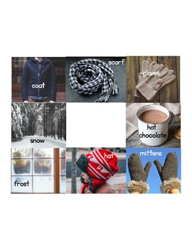 Winter Picture Bingo with vocabulary words