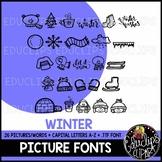 Winter Picture Font {Educlips Clipart}