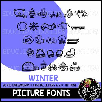 Winter Picture Font {Educlips Clipart}