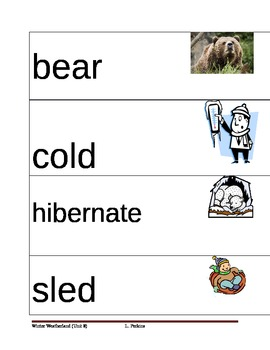 Winter Picture Vocabulary Cards