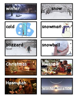 Winter Picture Vocabulary Word Wall Cards and Individual Word Wall