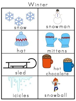 Winter Picture Word Bank and Picture Cards