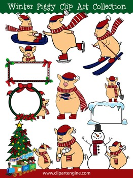 Winter Piggy Clip Art Collection