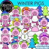 Winter Pigs Clipart {Winter Clipart}