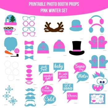 Winter Pink Printable Photo Booth Prop Set