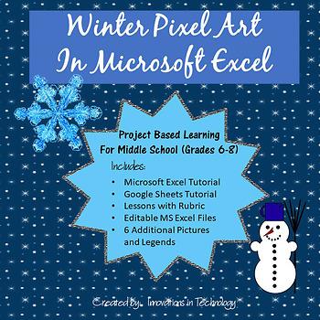 Winter Pixel Art in Microsoft Excel