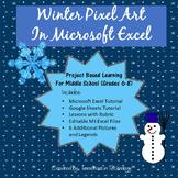 Winter Pixel Art in Microsoft Excel or Google Sheets