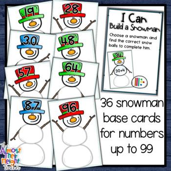 Winter Place Value -2 digit Base Ten Blocks - a math center activity