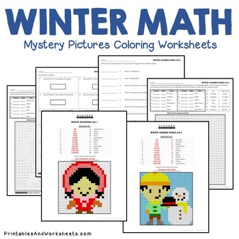 Mystery Pictures (Place Value), Winter Place Value Coloring Worksheets