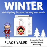 Winter Place Value Activities, Mystery Picture Color By Number Math Worksheet