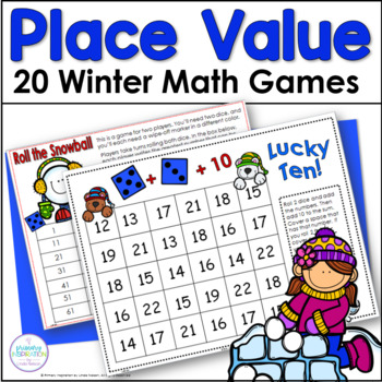First Grade Place Value One Page Games for Winter