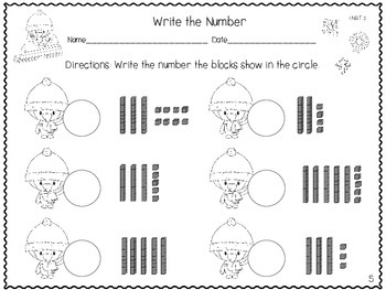 Winter Place Value Practice Sheets: Tens and Ones