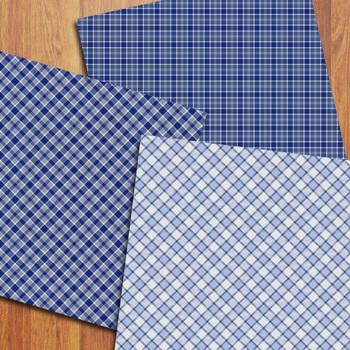Winter Plaid Digital Papers / Winter Tartan Backgrounds / Blue Plaid Patterns