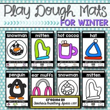 Winter Play Dough Mats --- Six Picture Mats and Ten Snowman Counting Mats 1-10