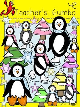Winter Playful Penguin Clipart