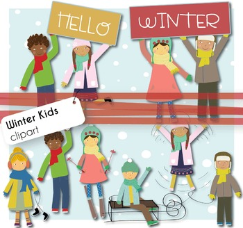 Winter Playing Kids - Clip Аrt