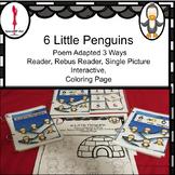 Winter Poem, Circle time 6 Little Penguins, Interactive book, Rebus read